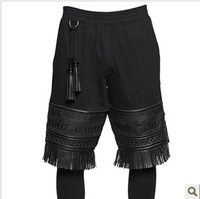 2013 ktz embroidery patchwork leather tassel straight elastic seven capris thickening legging trousers
