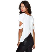 Free Shipping New Fashion 2014 Butterfly Cross Back Hollow Out Cutout Short Sleeve Chiffon Shirts Plus Size White Blouse02011003
