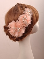 F103 Handmade Lovely orange pink pearl and rhinestone bridal headpiece wedding  hair accessory
