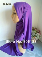 m1934 single jersey fabric long scarf  165cm*55cm easy to wear solid color cotton blent headscarf islamic hijab wholesale