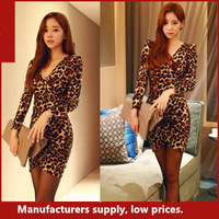 2014 Female Sexy Dress Leopard Print Tight V-neck Long-sleeve Dress Slim Step Hip Short Skirt Free Shipping
