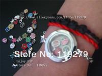 Free shipping! 1 set chrome round bracelets Locket + 13pcs Floating charms