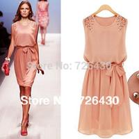 New Elegant Dress Women's Sleeveless Bead Belt Chiffon Sundress Free Shipping