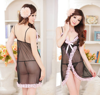 Free Shipping Women Sexy Lace Black Transparent Silk Sleeping Wear Ladies Sexy Sleepwear(sleepwear+underwear)