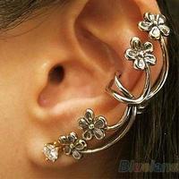 New Punk Antique Crystal Bronze Tone Metal Flower Ear Cuff Wrap Clip Earrings 0371