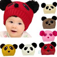 Novelty Cute Baby Girl Boy Toddler Winter Warm Knit knitting Wool Crochet Panda Animal Hat Cap Beanie Wear Gift 03CB