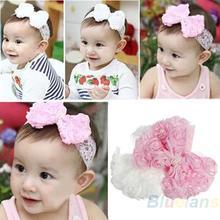 Chica linda del cabrito del bebé del niño de la perla de la venda Headwear sombrero Accesorios Rose encaje del arco Hairband de la flor del tocado 03DY(China (Mainland))