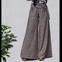[LYNETTE'S CHINOISERIE - Sang] Spring and autumn yarn dyed linen all-match lacing boot cut trousers wide leg pants 2