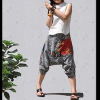 [LYNETTE'S CHINOISERIE - Sang] National 2013 trend fancy fluid blue and white porcelain cotton prints 7 harem pants
