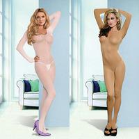 Solid Long Sleeve Sheer Nylon Open Crotch Bodystocking Sexy Women Body Stockings Lingerie Bodysuit