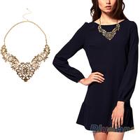 New European Vintage Luxurious Collar Chain  Bronze Lace Flower Chain Choker Necklace for Women Sale 03H2