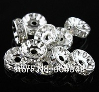 Free shipping 6MM Clear Crystal Spacer Round Beads,  Rondelle Rhinestone Spacer Beads Jewelry Findings vip888