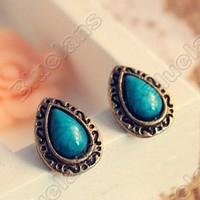 2015 Fashion Retro Vintage Fashion Blue Turquoise Drops Cute Mini Earring Elegant Alloy Jewelry 03E8