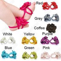 Cute Top Baby Shoes Flower Design Baby Prewalker Infant Shoes Cotton Barefoot Sandals 10 Colors Wholesale 04A1