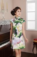 2013 summer cheongsam dress fashion chinese style cheongsam national trend o-neck short qipao