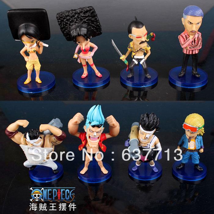 1 set 6-8cm Japanese Anime One Piece PVC Action Figure Toys Dolls set of 8 retail(China (Mainland))