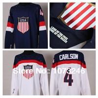 Hot Sale USA John Carlson Jersey #4 Personalized Make Customized Custom Blue White 2014 Sochi Team American Ice Hockey Jerseys