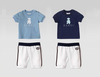 2014 New Boy Suits Children Brand 2pcs Clothing Sets Short Sleeve Tee Shirt+Short 6sets/lot