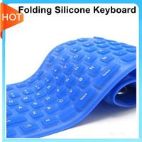Wholesale slim colorful folding silicone USB keyboard 109 keys foldable, waterproof, slim, soft, Long durability free shipping