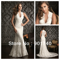 Hot Sale Elie Saab Retro Design Cap Sleeves Halter Ivory Lace Bridal Gown Mermaid Wedding Dress Free Shipping