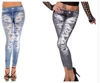 Fashion Seamless Print Legging Faux Denim Print Big Hole Symmetrical Legging Ankle Length Trousers