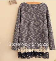 lace layer sweater  loose skirt sweater 2014 long-sleeve lace multilayers  chiffon patchwork sweater pullover