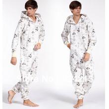 Man Mens UNISEX  adult  white star  Hooded Hoodie All In  Onesie Kigurumi Pajamas Playsuit Zip Up Sui Jumpsuit cotton(China (Mainland))