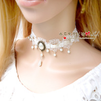 White lace belt necklace Women diy fashion bridesmaid pearl accessories xl077