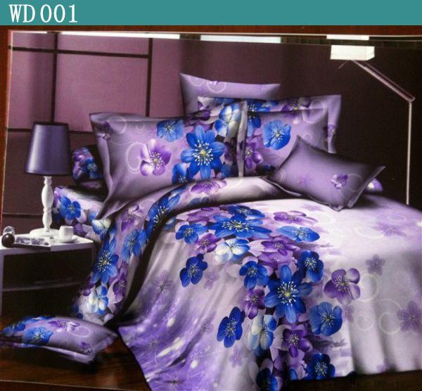Wholesale of Reactive printed 4pc 3d bedding set cotton queen size/bedclothes/duvet cover purple floral coverlet bed linen 800TC(China (Mainland))