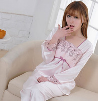Freeshipping Spring and summer women's lace faux silk sleepwear women's embroidery flower lounge set summer casual shrimp