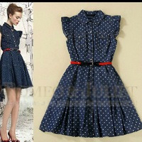 Women's 2014 summer fashion dot turn-down collar sheds expansion bottom denim one-piece dress