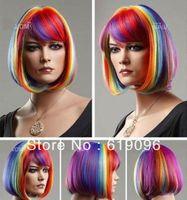 Hot Sell! New short BOB Multicolor Rainbow Cosplay Wigs