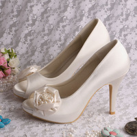 Off White Satin Women's Wedding Stiletto Heel Peep Toe Sandals With Flower(More Colors) FREE SHIPPING