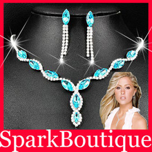 (40% off on wholesale) Crystal Rhinestone Necklace Earrings Jewelry Sets Crystal Jewelry Sets Free Shipping(China (Mainland))