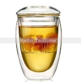 Großhandel 350ml doppelwand glas teetasse mit filter, klar doppelt- Wand blume tee Büro trinkglas becher, versandkostenfrei