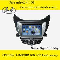 capacitive screen Hyundai Elantra android 4.1 car dvd with gps,A9 dual core &DDR3