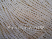 3strands/lot 4mm White Natural Coral Beads Round 15.5'' Full Strand