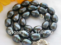 """Jewelry 002144 17"""" 14mm black rice freshwater pearl necklace"""