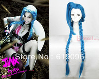 HOT Sell! League of Legends!LOL New Hero Jinx 100cm Cosplay Party Hair Wig