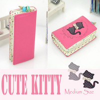 2014 New Arrival Wholesale High quality PU Women Medium size Wallets Fashion Cute kitty Pattern 5 color Lady purse