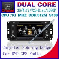 Car DVD for Chrysler Sebring Dodge Jeep S100 gps navigation radio bluetooth car kit TV USB Wifi 3G 1G CPU Free shiping 1233S