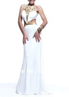 Jersey Fabric Gold Beading Handwork Halter White Color Sexy Mermaid Dress OL102347