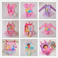 Child dance performance wear child swimwear female child one piece swimwear ballet princess powder
