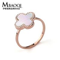 Yapolo classic four leaf clover white shell rose gold ring female finger ring 891664