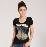 2014 New Arrived fashion women's cotton T-shirt Rivets diamonds beading Lace Bow-knot Wrapped chest Tshirt plus size 3XL NV46