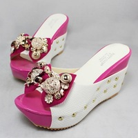 Free shipping Rhinestone beaded bow wedges platform high-heeled slippers drag female sandals shoes