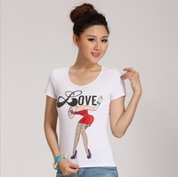 2014 New Arrived fashion women's cotton T-shirt Rivets diamonds beading letters love Sexy Beauty Tshirt NV48