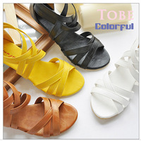 Free Shipping 2014 Fashion Brand Women Casual Flats Sexy Ankle Strap Roman Summer Sandals Plug Size 43 Available LX1007