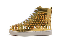 Men's Women's Red Bottom Gold Patent Leather Metal Spikes High Fashion Lace Up 2013 Sneakers Unisex Top Quality Flat Loafers