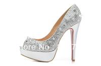 Size:35-41 Women's Red Bottom 14cm Thin Heel Silver Spikes Peep Toe Rhinestone Sandals,2013 Silver Some Cloth Summer High Heels